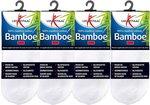 4 Pack Lucovitaal Bamboe Sok Enkel 43-46 Wit