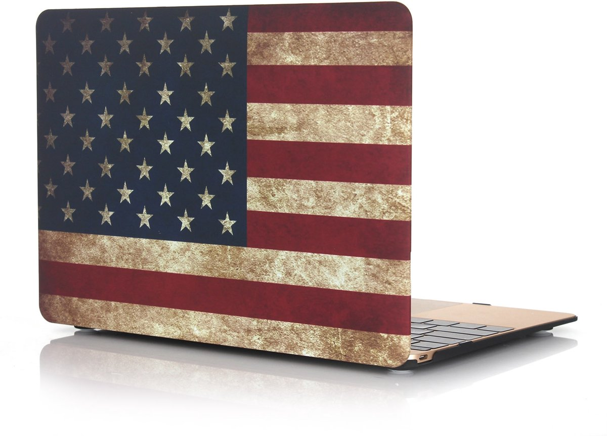 Macbook Case voor Macbook Pro 15 inch (zonder retina) - Laptoptas - Hard Case - Retro Amerikaanse Vlag