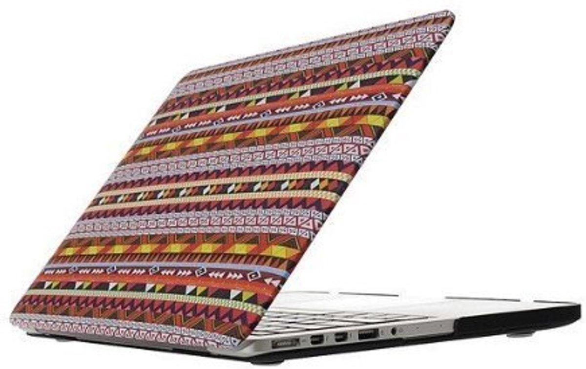 Macbook Case voor Macbook Pro 15 inch (zonder retina) - Laptoptas - Hard Case - Azteken Print Rood