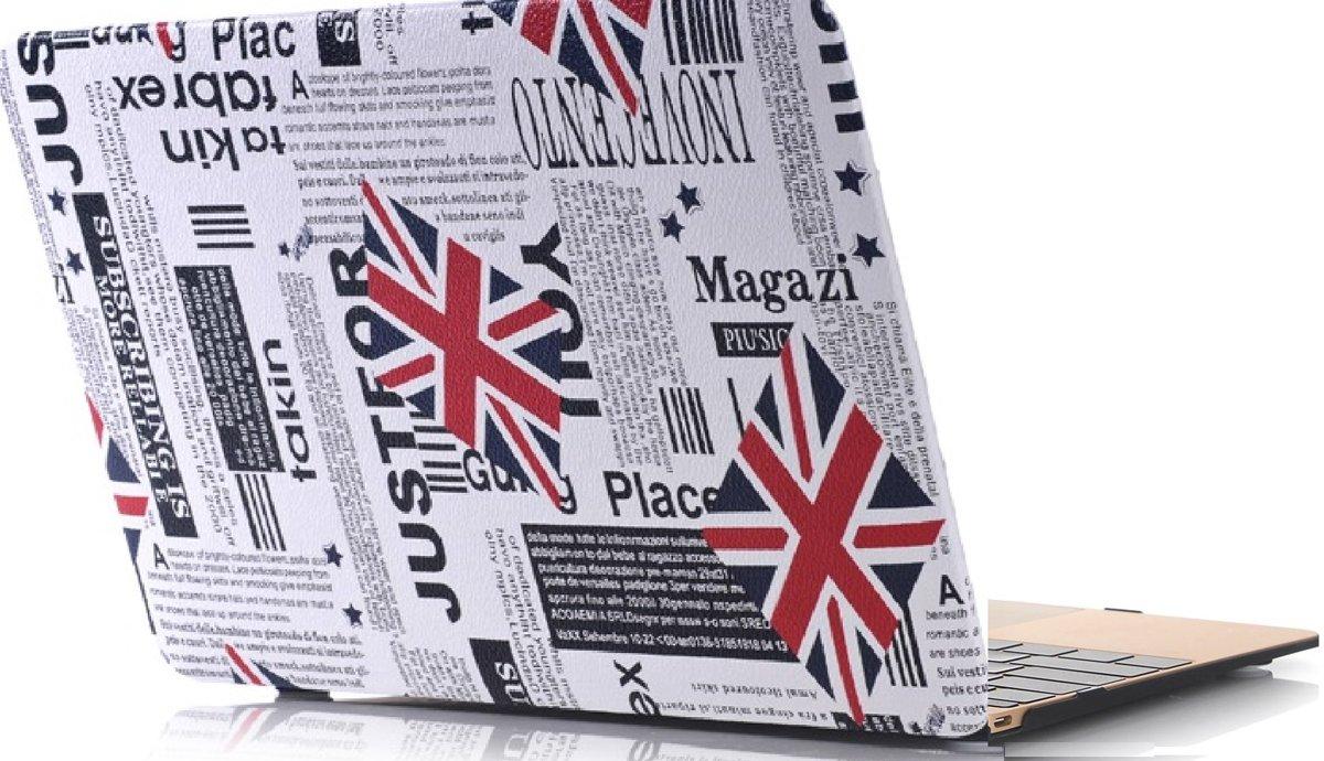 Xssive Macbook Case voor Macbook Retina 12 inch - Laptoptas - Hard Case -  Krant met Union Jack Engelse Vlag