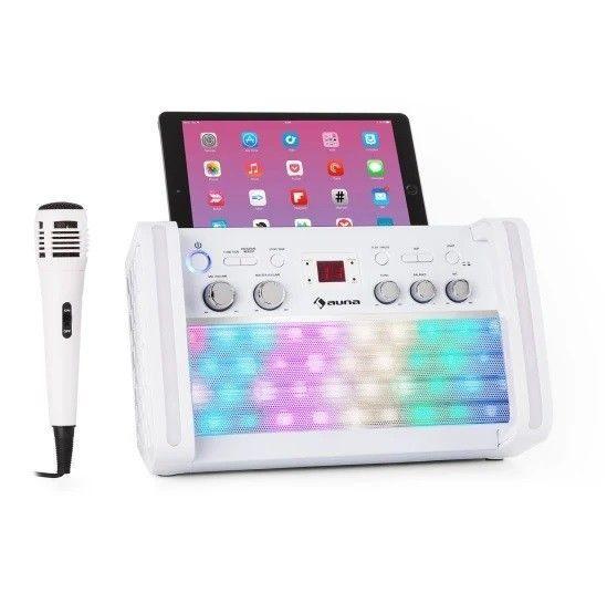 Auna DiscoFever 2.0 witte karaoke set met CD+G, Bluetooth en disco