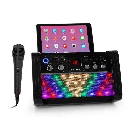 Auna DiscoFever 2.0 zwarte karaoke set met CD+G , Bluetooth en disco