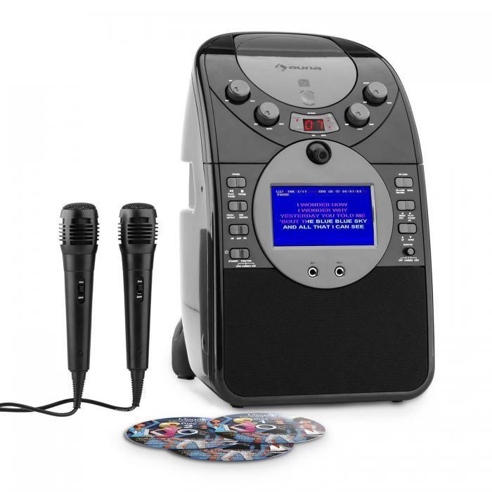 Auna ScreenStar zwarte karaoke set met camera, kleurenscherm, CD+G,