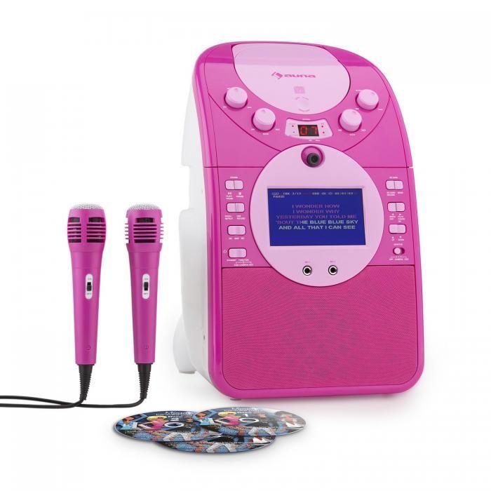 Auna ScreenStar roze karaoke set met camera, kleurenscherm, CD+G, mp3