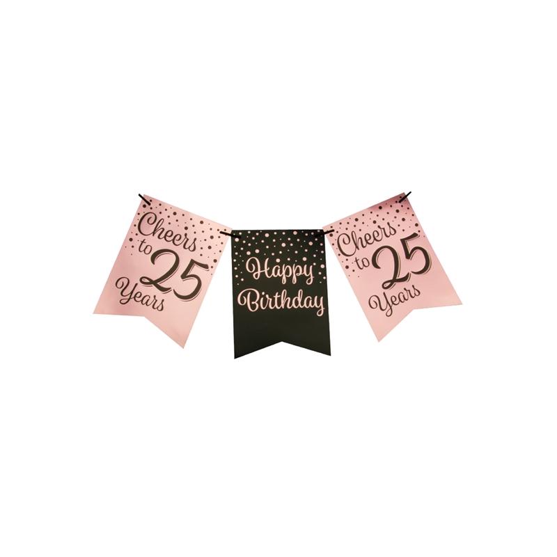 Vlaggetjesslinger roze/zwart - 25