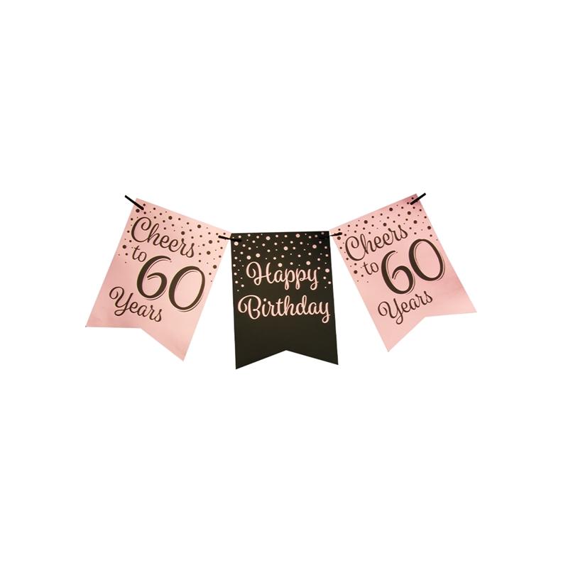 Vlaggetjesslinger roze/zwart - 60