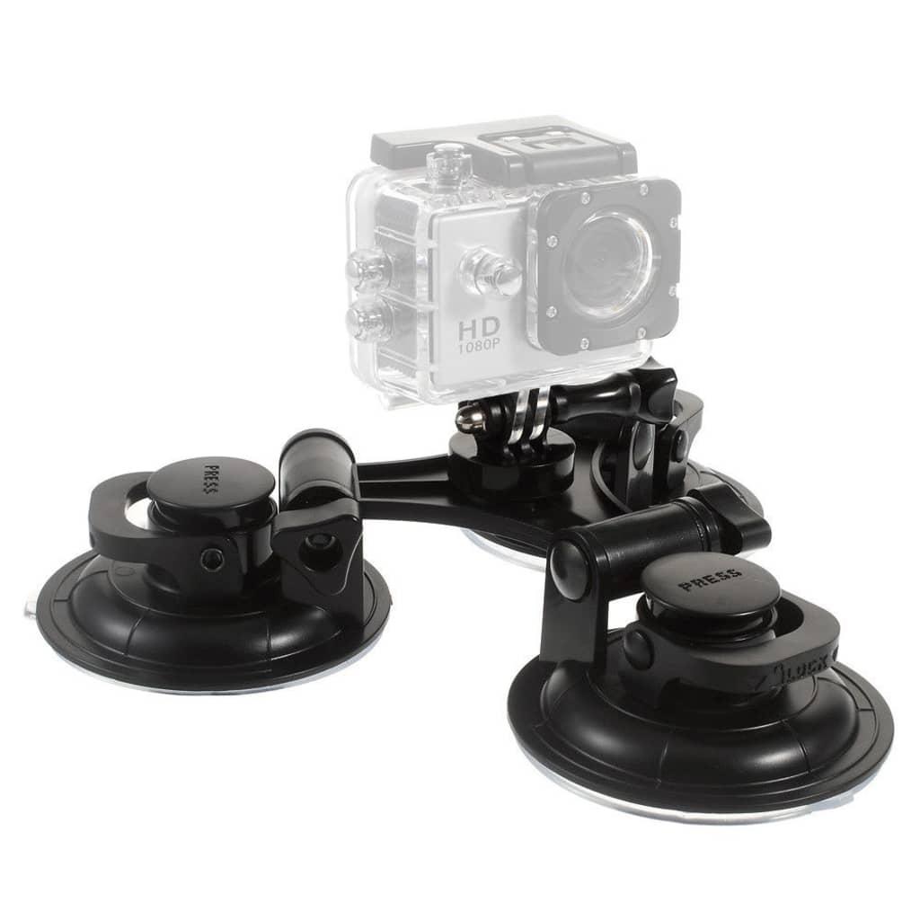 Shop4 - Actioncam Autohouder - 3-Zuignappen Zwart